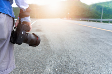 Street photographer on road trip.  Professional and traveler concept