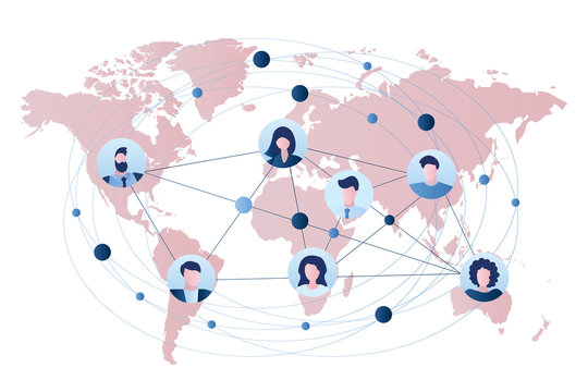 Global business connection or communication between people. Business teamwork concept.