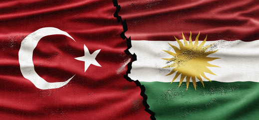 Political relationships. Turkish and Kurdish Flag divided diagonally. Partnership and conflicts.