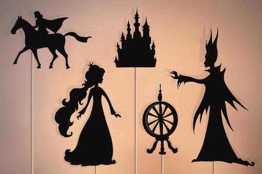 Sleeping Beauty storytelling, shadow puppets.