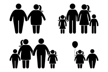Fat family stick figure vector icon set. Obese human, children couple black and white flat style pictogram on white background