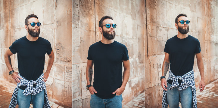 Collage of photos with young bearded guy in blank black t-shirt. Design men t shirt mock-up for print