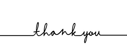 Thank you - continuous one black line with word. Minimalistic drawing of phrase illustration