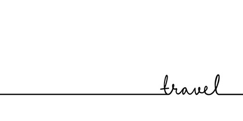 Travel - continuous one black line with word. Minimalistic drawing of phrase illustration