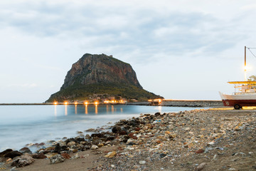 Monemvasia, Greece, a town located on a small island off the east coast of the Peloponnese and linked to the mainland by a short causeway