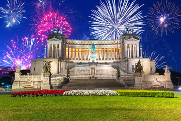 Fireworks display over the National Monument in Rome, Italy