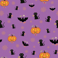 Funky hand drawn Halloween design with cats, bats, pumpkins and spiderwebs. Seamless vector pattern on purple background with subtle confetti texture. Great for giftwrap, party, invitations, web