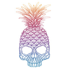 Vector illustration of pineapple skull. Halloween picture. Creative cool funny print for tee, pillow, banners, tattoo, posters.