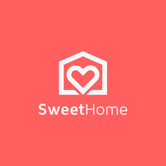 Creative minimalist house with heart logo icon design home property symbol concept vector