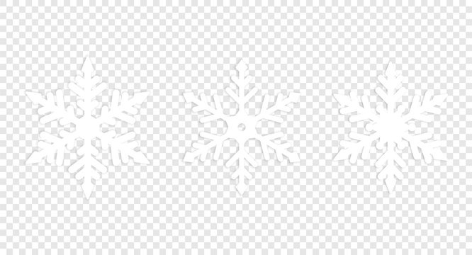 Set of isolated winter snowflake.