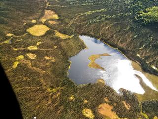 Sinfonie in Gelb nördlich der Brooksrange, Herbstliche Tundralandschaft im Norden Alaskas, Luftaufnahme