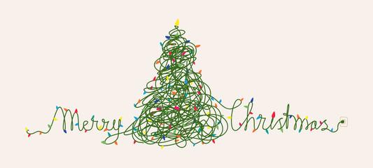 Obraz Funny Christmas card design, Christmas lights tangled up - fototapety do salonu