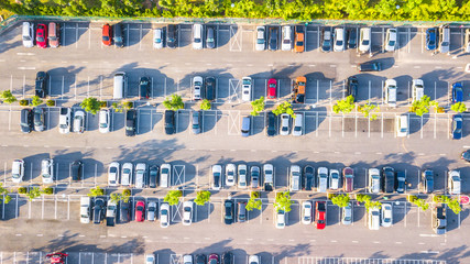 Aerial view  Parking lot and car