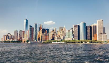 Manhattan panorama in New York City, the USA.