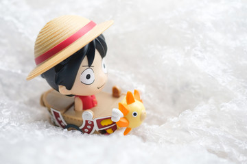 Bangkok, Thailand - September 22, 2019: Cute toy of One Piece Pirate Ship (Monkey D. Luffy) from McDonald's exclusive in Thailand.