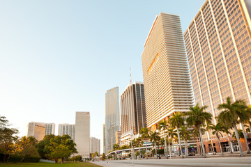 Miami, Florida, United States - March 11, 2012: Biscayne Boulevard at downtown in he early morning.