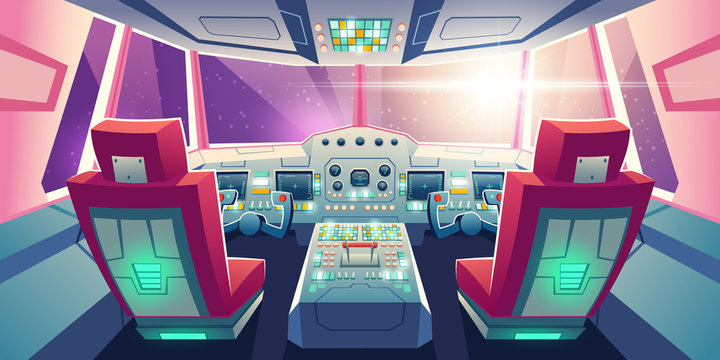 Jet cockpit, empty airplane cabin interior with seats for pilots, flight deck dashboard with navigation monitors, control panel and sky view in windows. Futuristic airliner Cartoon vector illustration
