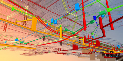 The BIM model of the underground infrastructure object of urban utilities wireframe view