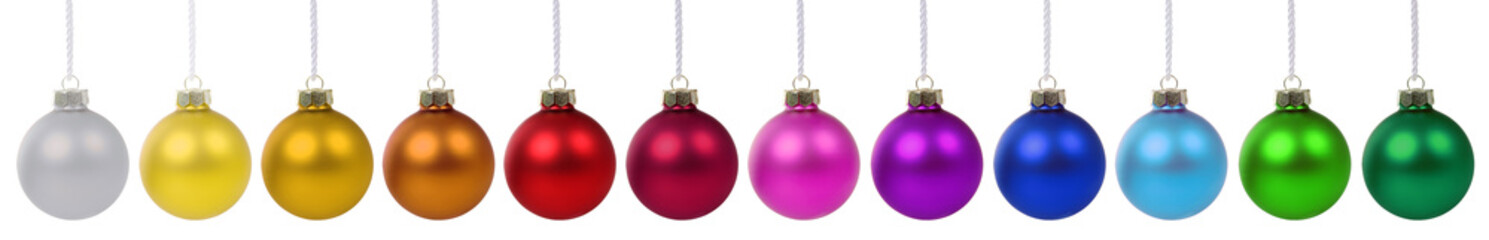 Colorful Christmas balls baubles banner decoration in a row isolated