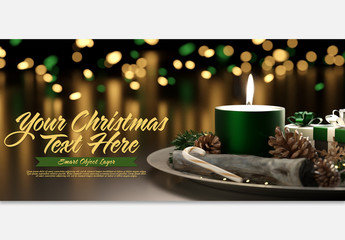 Christmas Scene Mockup with Green Elements