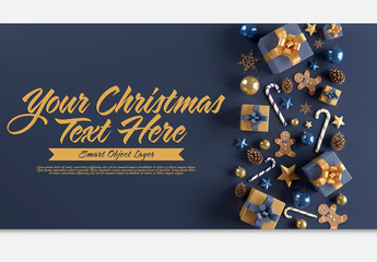 Christmas Scene Mockup with Blue and Gold Holiday Elements