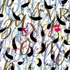 seamless abstract pattern background composition, with strokes, splashes and letter