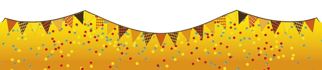 lange Wimpelketten mit Konfetti mit orangen Streifen Untergrund