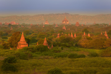 sunrise over Bagan, Myanmar temples in the Archaeological Park, Burma.