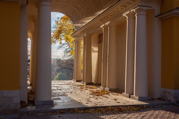 Autumn park view from the old pavilion on the hill, Tsaritsyno park in Moscow, Russia