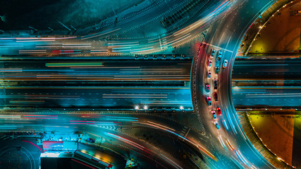 Wall Murals Night highway Road and Roundabout top view, Road traffic an important infrastructure in Thailand