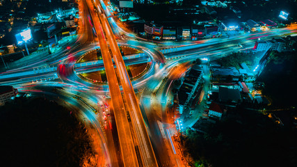 Road and Roundabout top view, Road traffic an important infrastructure in Thailand