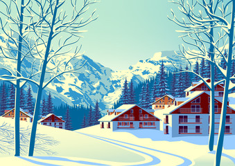 Alpine village with forest and mountains in the background.