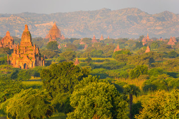 Bagan, Myanmar temples in the Archaeological Park, Burma. Sunrise