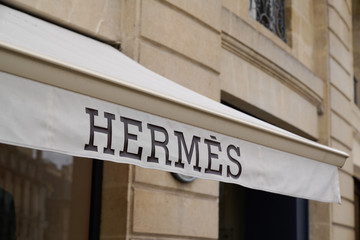 HERMES fashion retail logo store sign in city shop center