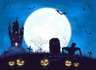 Blue Halloween Background with Castle and Pumpkins
