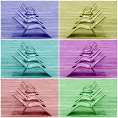 Multicolored wooden deck chairs on a large beach of wooden planks
