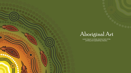 Aboriginal dot art vector banner with text.