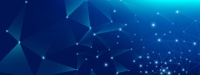 Digital Technology. Big Data Blue. Glow Polygonal