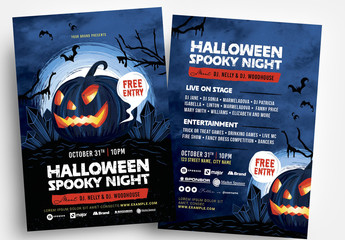Halloween Spooky Illustrated Flyer Layout