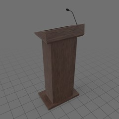 Wooden podium with microphone