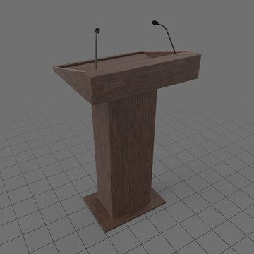 Wooden podium with microphones
