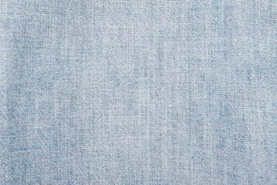 Closeup of cotton mixed with polyester fabric in light blue and grey tone for textile texture for background and decoration Cool banner on page and cover
