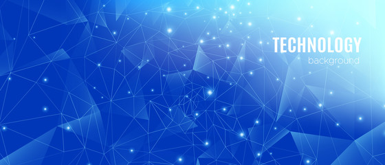 Big Data Analysis. Technology Poster. Blue