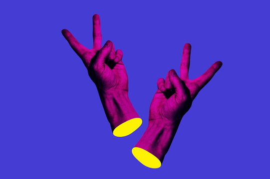 Contemporary minimalistic art collage in neon bold colors with hands showing yo sign. Surrealism creative wallpaper.