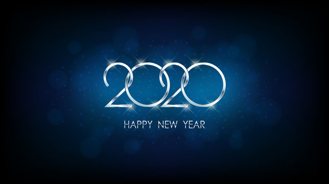 Silver Happy new year 2020 with abstract bokeh and lens flare pattern in vintage blue color background
