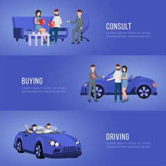Foto auf Leinwand Cartoon cars Automobile showroom advertising banner vector template. Personal vehicle, transportation dealership service poster layout. Salesman and happy customers buying car flat illustration with text space