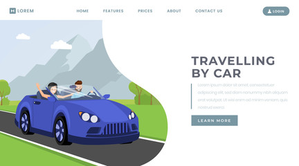 Car traveling landing page vector template. Personal transportation rental service website homepage interface idea with flat illustration. Test drive, family journey web banner cartoon concept