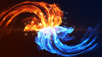 Fire and Ice concept design. 3d illustration.