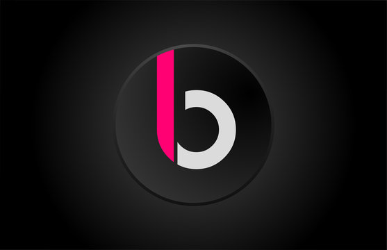 alphabet letter b black circle pink white logo icon design