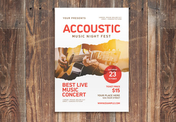 Music Event Flyer Layout with Red Accents